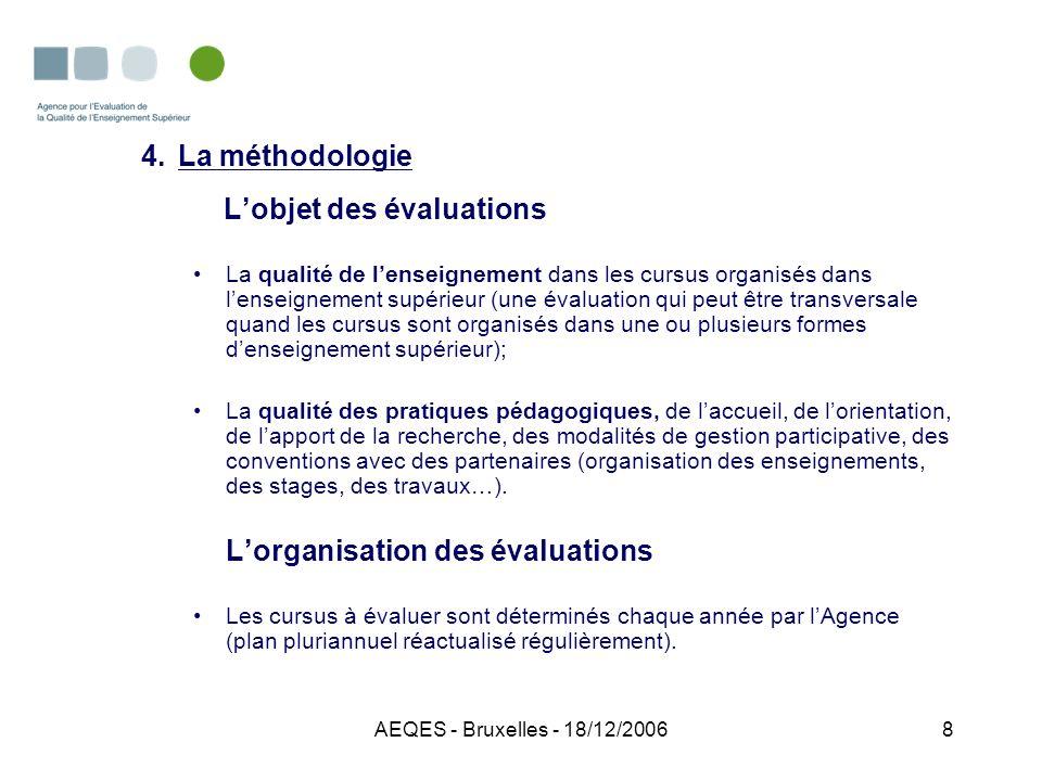 AEQES - Bruxelles - 18/12/20069 4.La méthodologie Lévaluation comprend : La détermination des objectifs de formation; Ladéquation des moyens mis en œuvre pour les atteindre; Une série dindicateurs portant sur les démarches de formation.