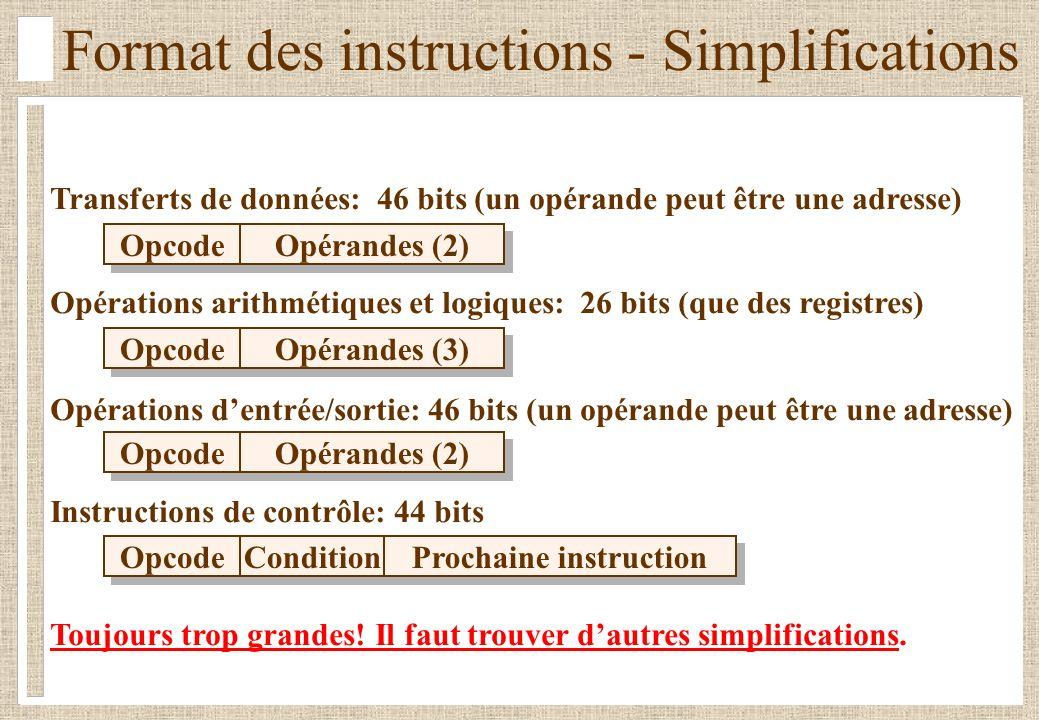 Format des instructions - Simplifications Transferts de données: 46 bits (un opérande peut être une adresse) Opérations arithmétiques et logiques: 26