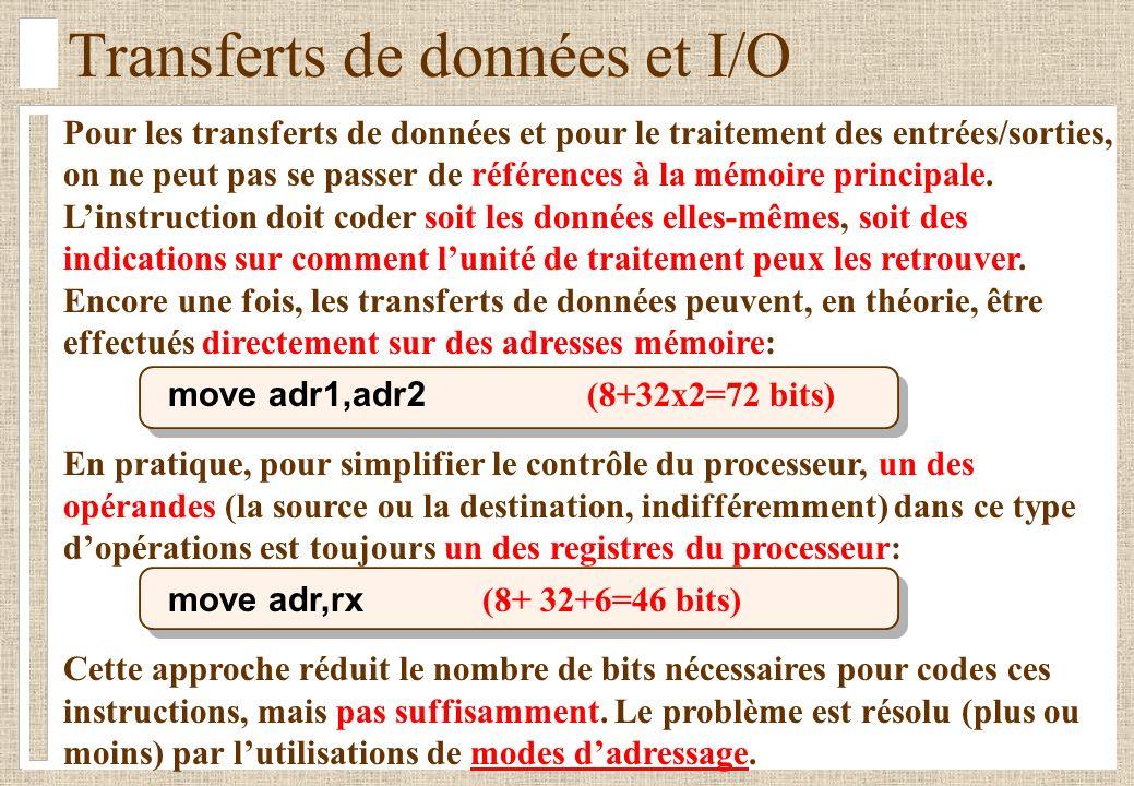 Transferts de données et I/O Pour les transferts de données et pour le traitement des entrées/sorties, on ne peut pas se passer de références à la mém