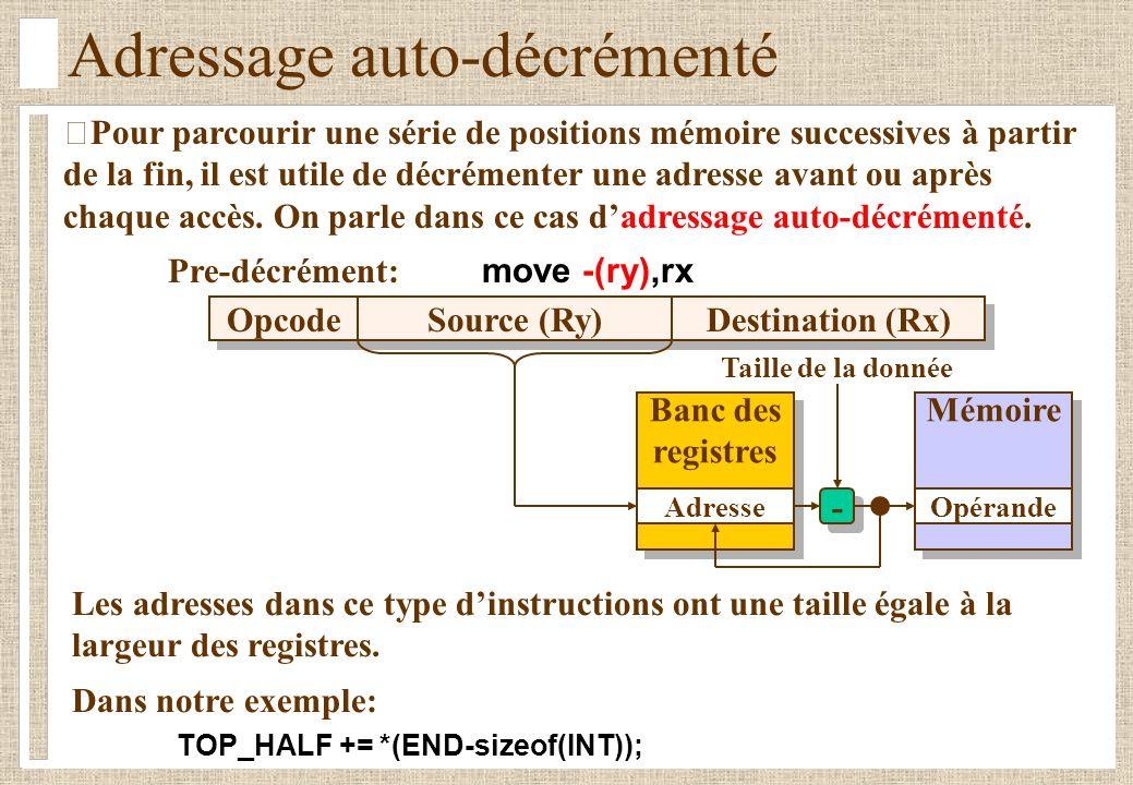 Adressage auto-décrémenté Pour parcourir une série de positions mémoire successives à partir de la fin, il est utile de décrémenter une adresse avant