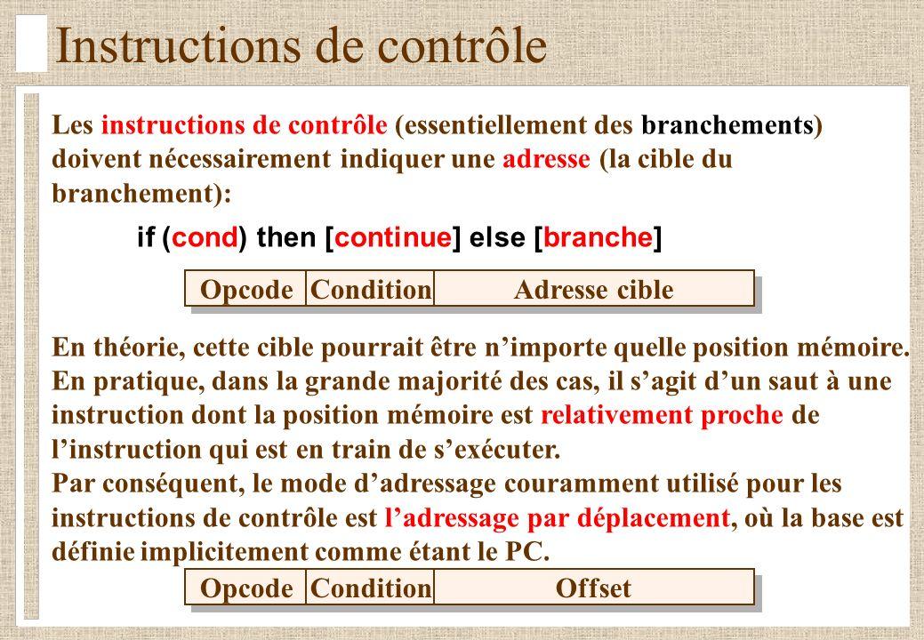 Les instructions de contrôle (essentiellement des branchements) doivent nécessairement indiquer une adresse (la cible du branchement): if (cond) then