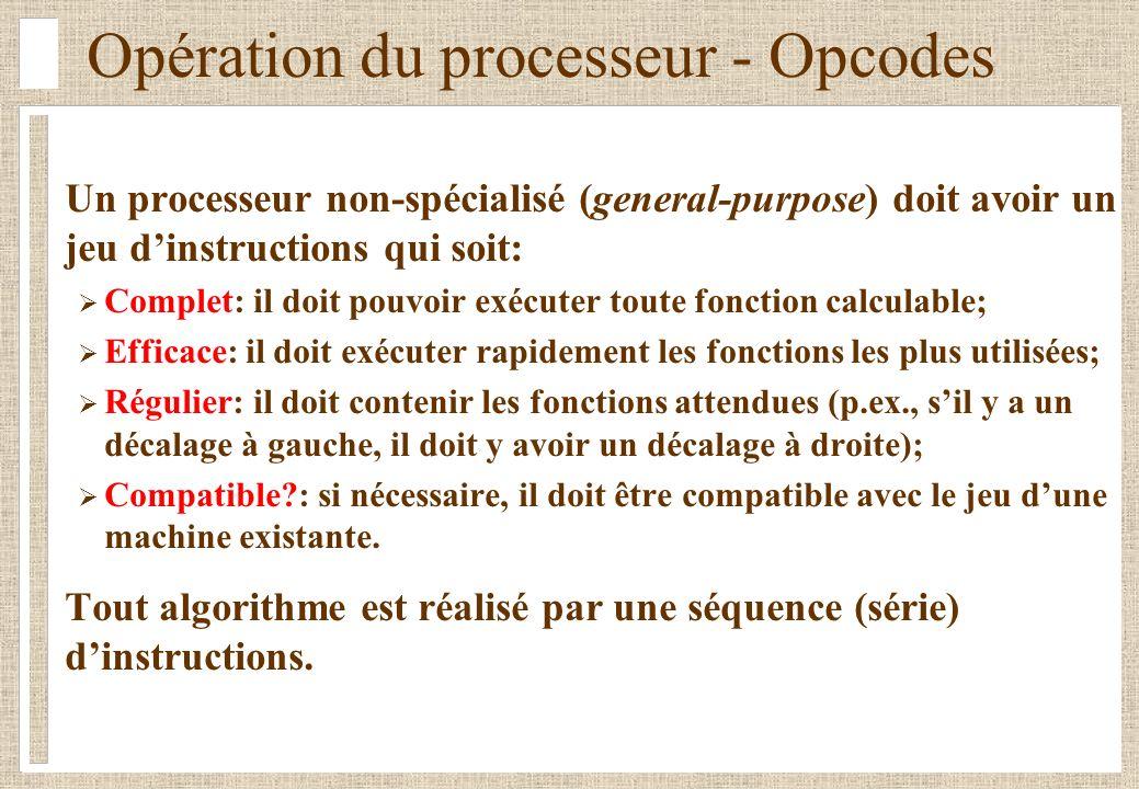 Opération du processeur - Opcodes Un processeur non-spécialisé (general-purpose) doit avoir un jeu dinstructions qui soit: Complet: il doit pouvoir ex
