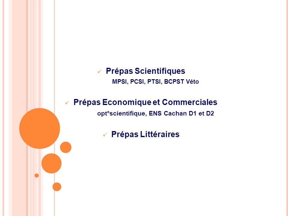 Prépas Scientifiques MPSI, PCSI, PTSI, BCPST Véto Prépas Economique et Commerciales opt°scientifique, ENS Cachan D1 et D2 Prépas Littéraires