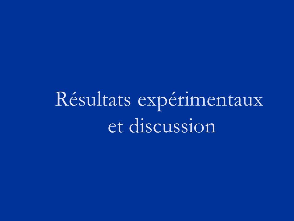 Résultats expérimentaux et discussion