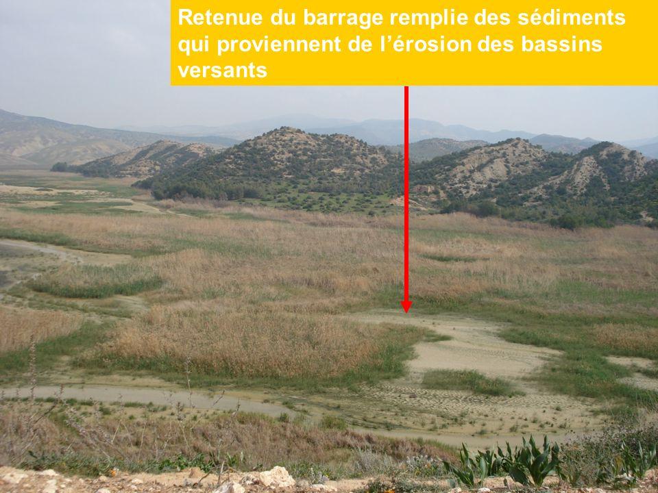 Retenue du barrage remplie des sédiments qui proviennent de lérosion des bassins versants