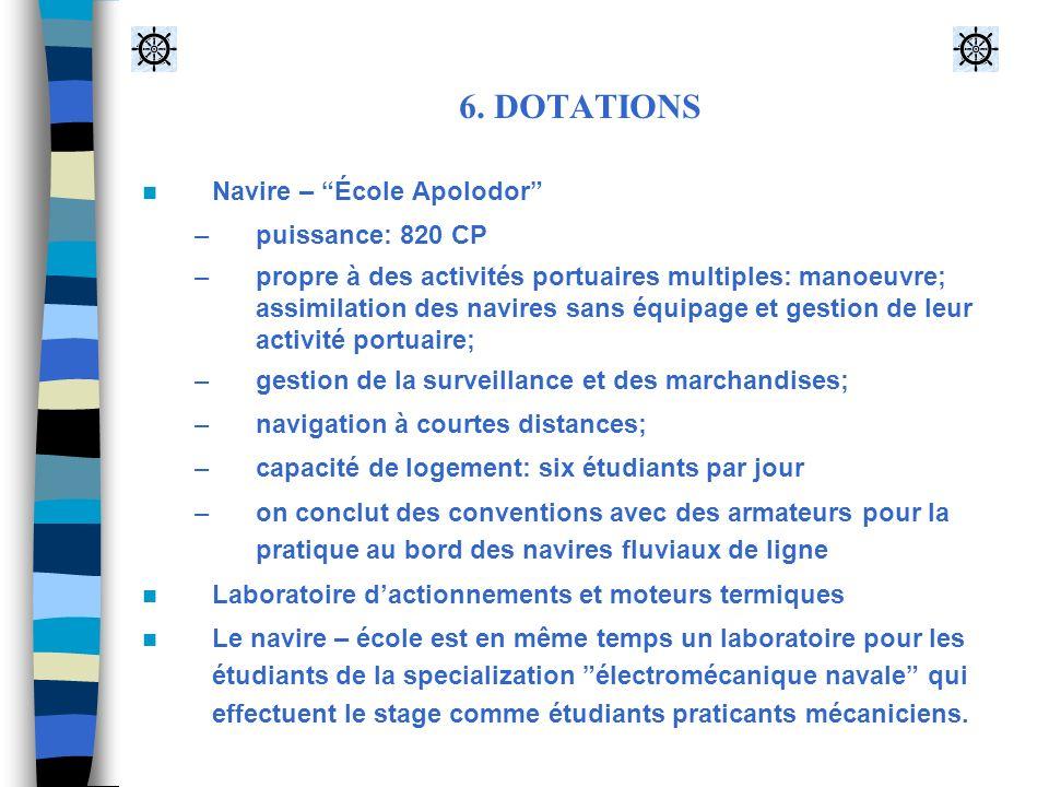 6. DOTATIONS Navire – École Apolodor –puissance: 820 CP –propre à des activités portuaires multiples: manoeuvre; assimilation des navires sans équipag