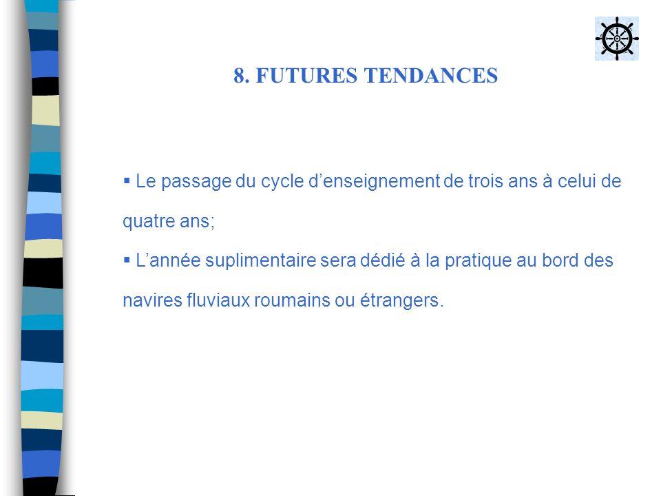 8. FUTURES TENDANCES Le passage du cycle denseignement de trois ans à celui de quatre ans; Lannée suplimentaire sera dédié à la pratique au bord des n