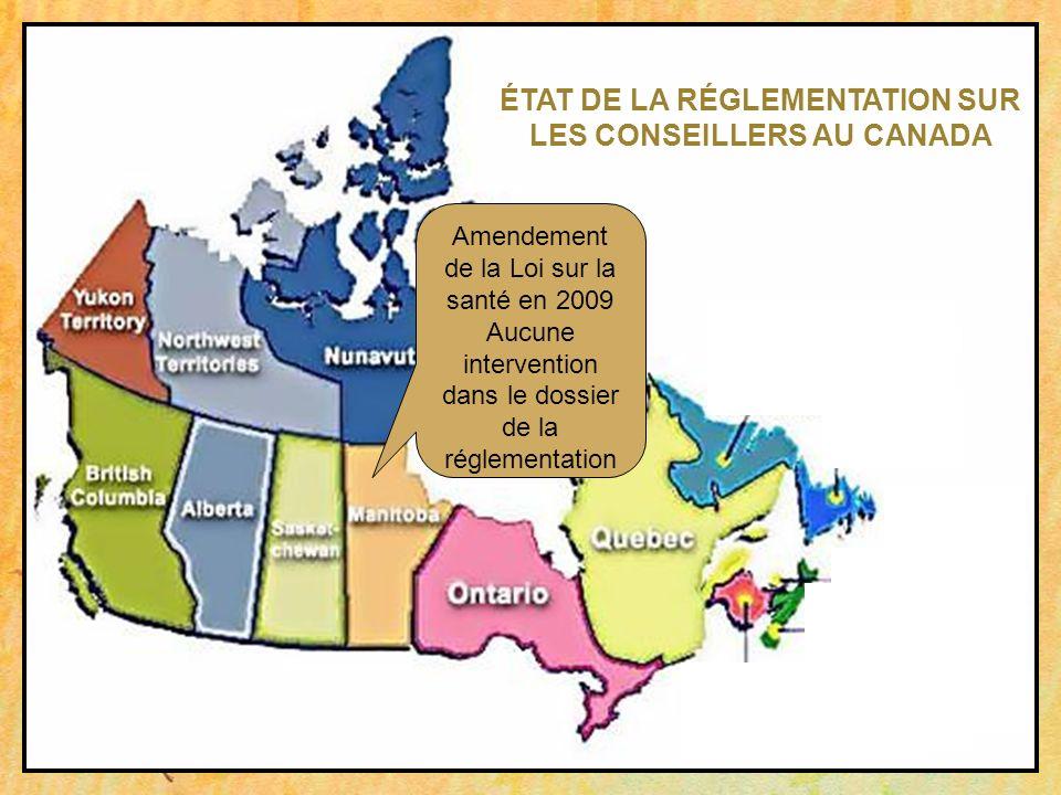 Amendement de la Loi sur la santé en 2009 Aucune intervention dans le dossier de la réglementation ÉTAT DE LA RÉGLEMENTATION SUR LES CONSEILLERS AU CA