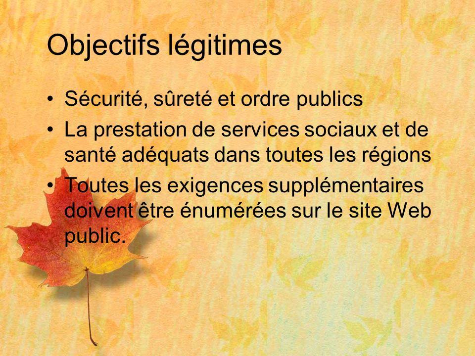 Objectifs légitimes Sécurité, sûreté et ordre publics La prestation de services sociaux et de santé adéquats dans toutes les régions Toutes les exigences supplémentaires doivent être énumérées sur le site Web public.