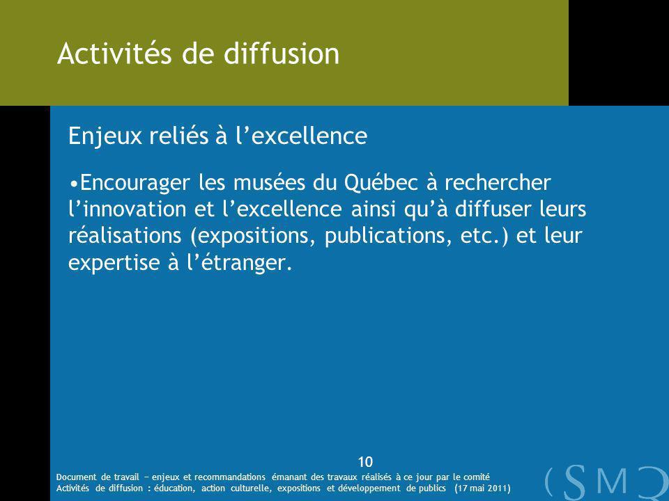 Enjeux reliés à lexcellence Encourager les musées du Québec à rechercher linnovation et lexcellence ainsi quà diffuser leurs réalisations (expositions, publications, etc.) et leur expertise à létranger.