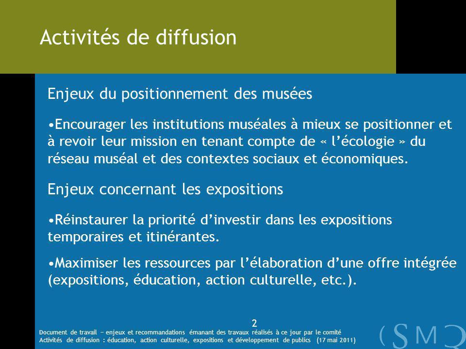 Enjeux du positionnement des musées Encourager les institutions muséales à mieux se positionner et à revoir leur mission en tenant compte de « lécologie » du réseau muséal et des contextes sociaux et économiques.