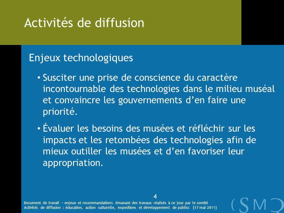 Enjeux technologiques Susciter une prise de conscience du caractère incontournable des technologies dans le milieu muséal et convaincre les gouvernements den faire une priorité.
