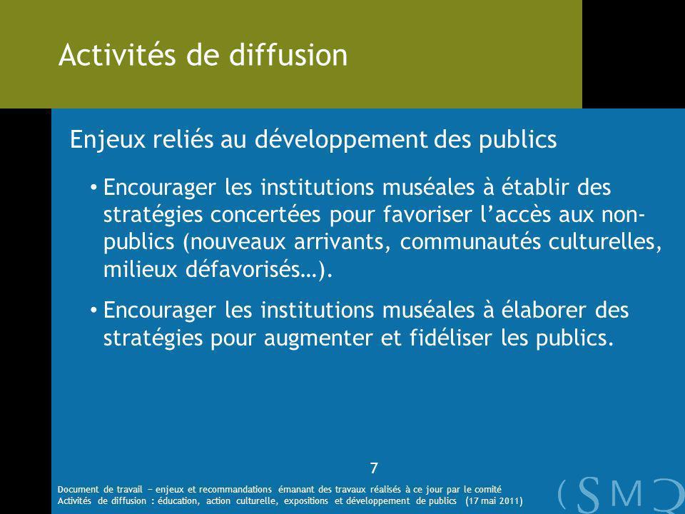 Enjeux reliés au développement des publics Encourager les institutions muséales à établir des stratégies concertées pour favoriser laccès aux non- publics (nouveaux arrivants, communautés culturelles, milieux défavorisés…).