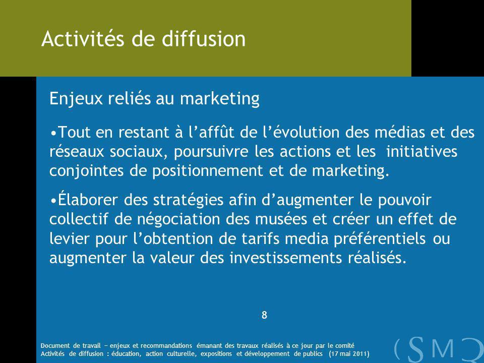 Enjeux reliés au marketing Tout en restant à laffût de lévolution des médias et des réseaux sociaux, poursuivre les actions et les initiatives conjointes de positionnement et de marketing.