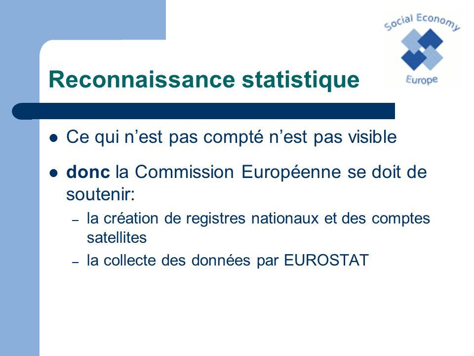 Reconnaissance statistique Ce qui nest pas compté nest pas visible donc la Commission Européenne se doit de soutenir: – la création de registres natio