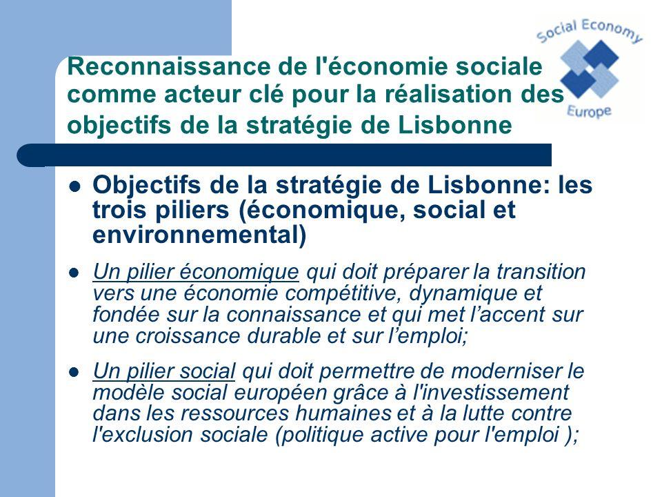 Reconnaissance de l'économie sociale comme acteur clé pour la réalisation des objectifs de la stratégie de Lisbonne Objectifs de la stratégie de Lisbo