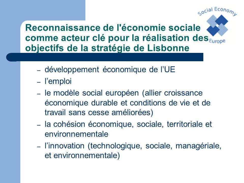 Reconnaissance de l'économie sociale comme acteur clé pour la réalisation des objectifs de la stratégie de Lisbonne – développement économique de lUE