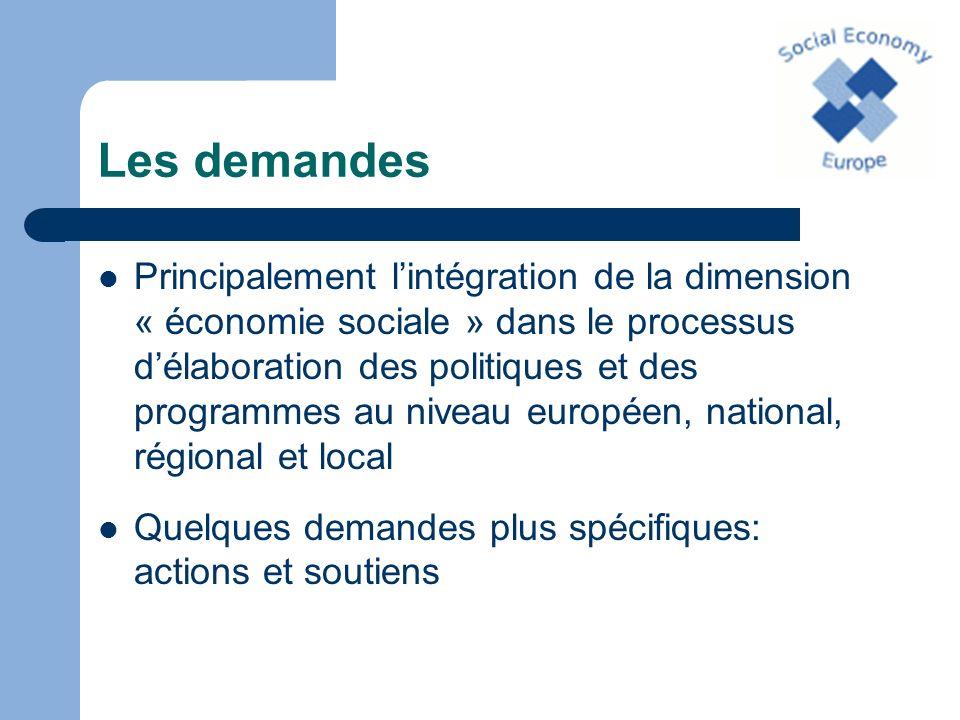 Les demandes Principalement lintégration de la dimension « économie sociale » dans le processus délaboration des politiques et des programmes au nivea