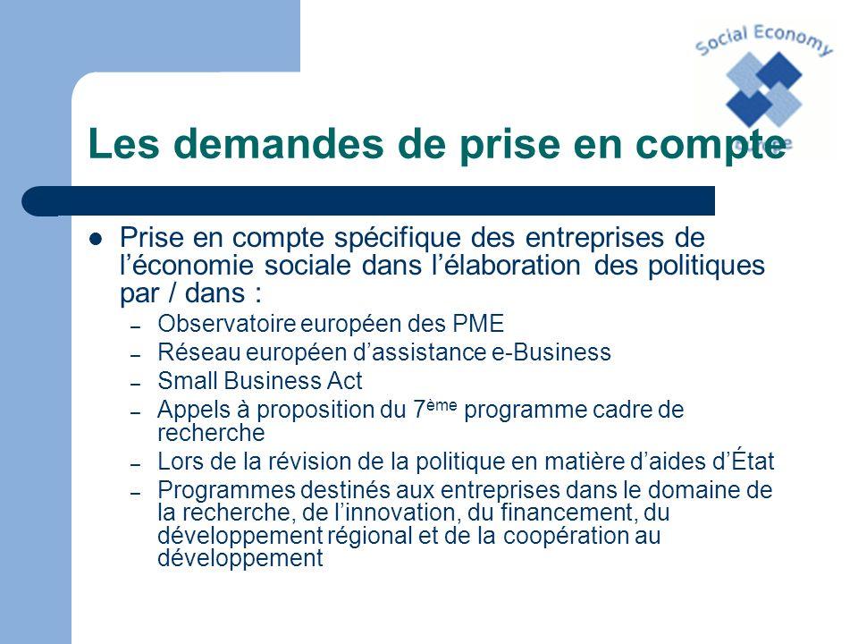 Les demandes de prise en compte Prise en compte spécifique des entreprises de léconomie sociale dans lélaboration des politiques par / dans : – Observ
