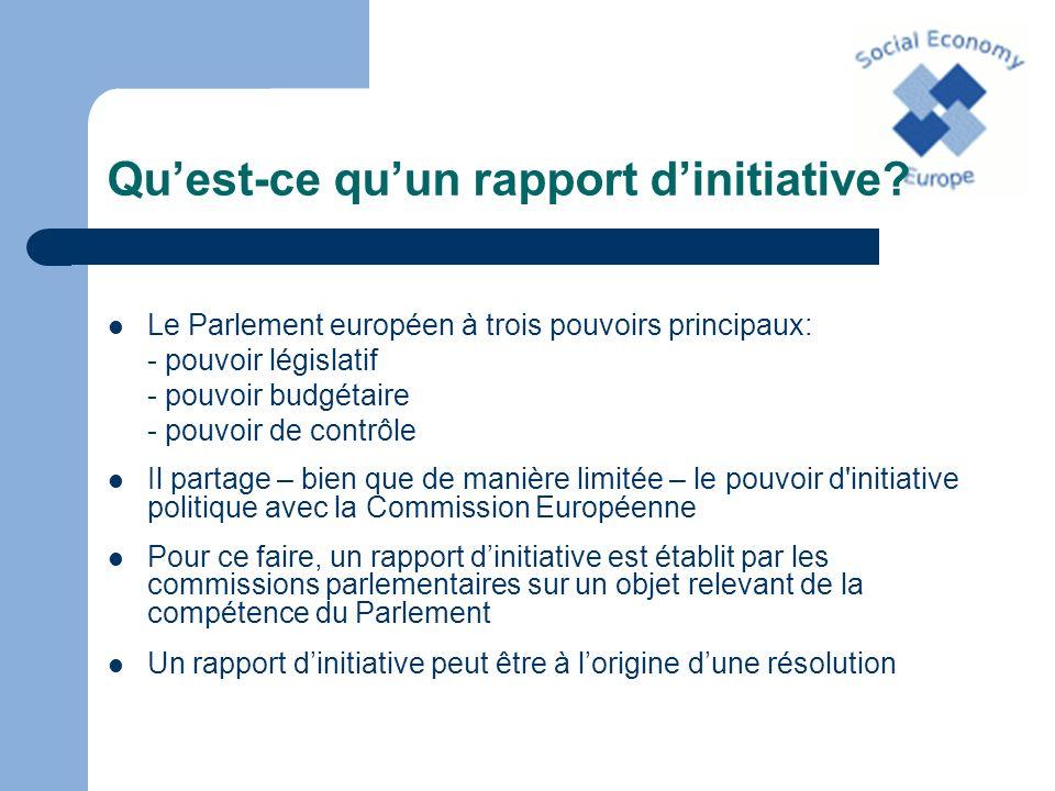 Quest-ce quun rapport dinitiative? Le Parlement européen à trois pouvoirs principaux: - pouvoir législatif - pouvoir budgétaire - pouvoir de contrôle