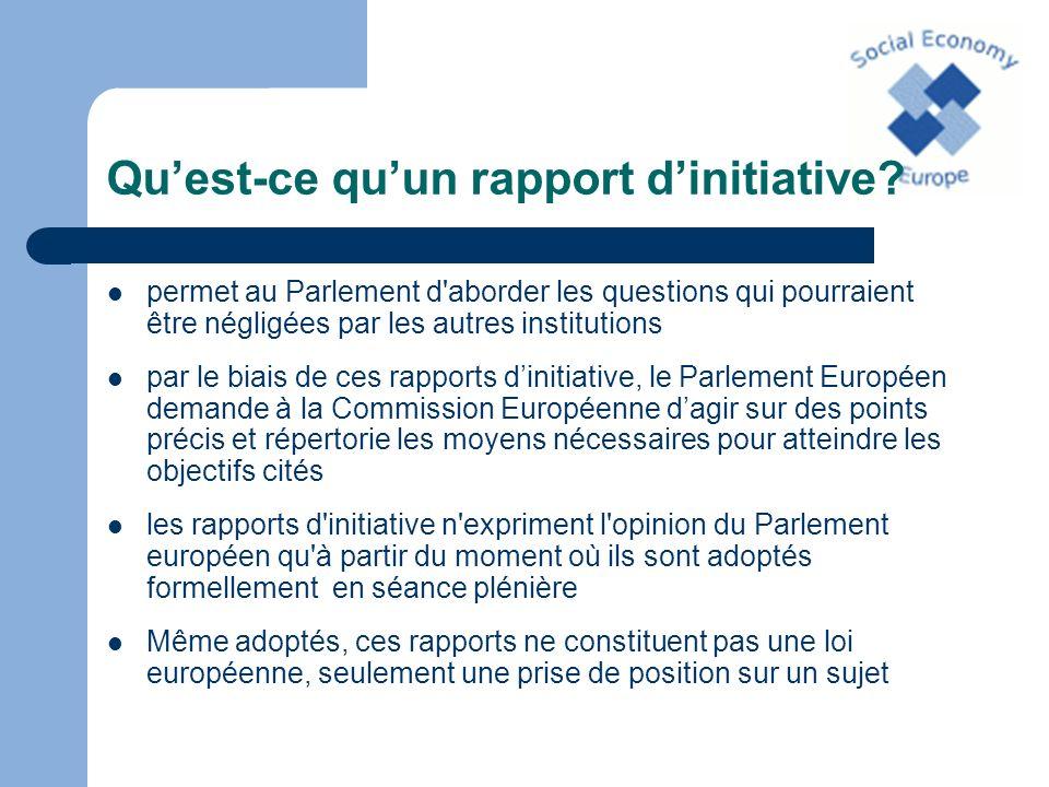 Origine du rapport En 2005, lintergroupe économie sociale du Parlement Européen propose lélaboration dun rapport dinitiative sur léconomie sociale.
