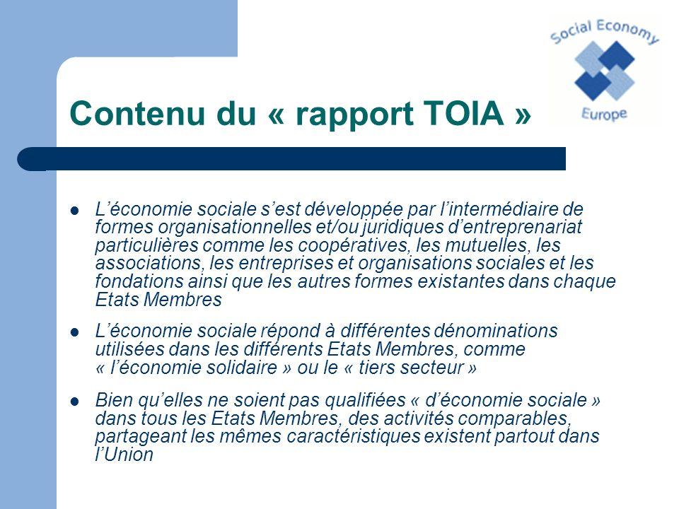 Contenu du « rapport TOIA » Léconomie sociale produit: – des biens – des services – des emplois – de la richesse – de linnovation – de la solidarité – de la stabilité