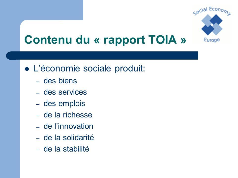 Contenu du « rapport TOIA » Les caractéristiques propres aux entreprises de léconomie sociale: – reprise plus ou moins fidèle des sept valeurs communes définies dans la charte de léconomie sociale – alliance de la profitabilité et de la solidarité – ancrage local et territorial – ne peuvent pas être caractérisées par leur taille ou le secteur dactivité