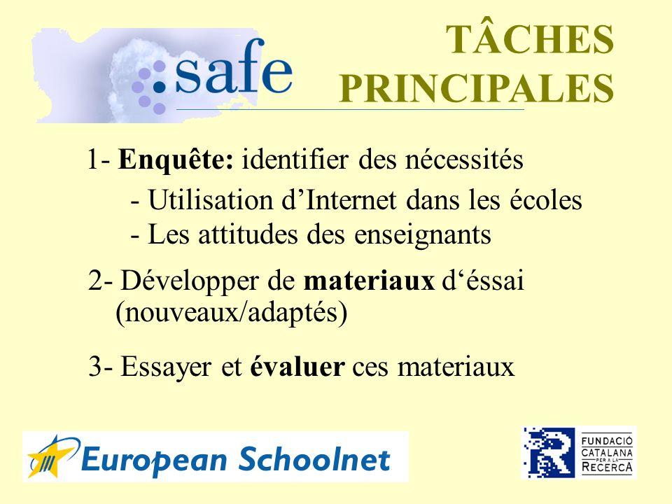 TÂCHES PRINCIPALES 1- Enquête: identifier des nécessités - Utilisation dInternet dans les écoles - Les attitudes des enseignants 2- Développer de materiaux déssai (nouveaux/adaptés) 3- Essayer et évaluer ces materiaux