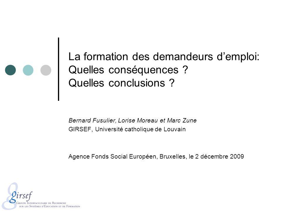 La formation des demandeurs demploi: Quelles conséquences ? Quelles conclusions ? Bernard Fusulier, Lorise Moreau et Marc Zune GIRSEF, Université cath