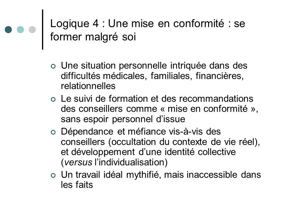Logique 4 : Une mise en conformité : se former malgré soi Une situation personnelle intriquée dans des difficultés médicales, familiales, financières,