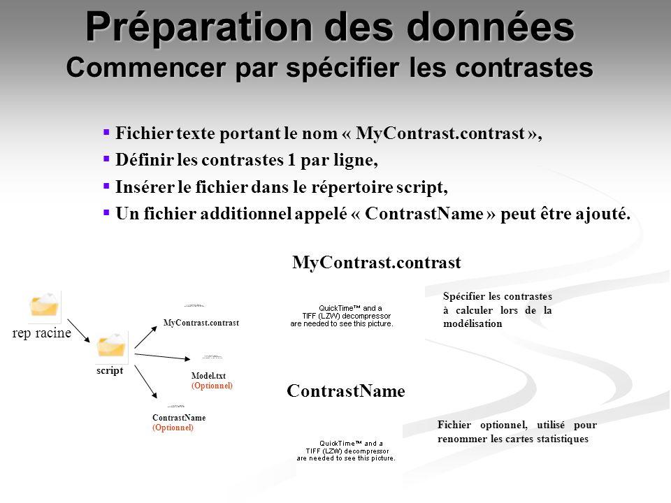 Préparation des données Commencer par spécifier les contrastes script MyContrast.contrast Spécifier les contrastes à calculer lors de la modélisation