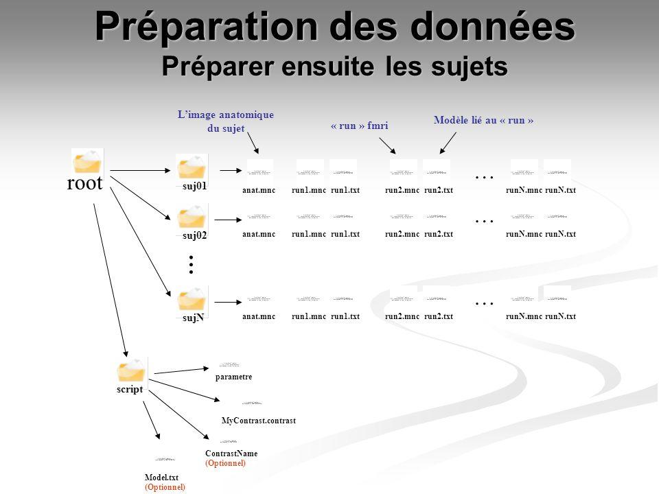 Préparation des données Préparer ensuite les sujets suj01 suj02 sujN root anat.mncrun1.mncrun1.txtrun2.mncrun2.txtrunN.mnc … runN.txt Limage anatomiqu