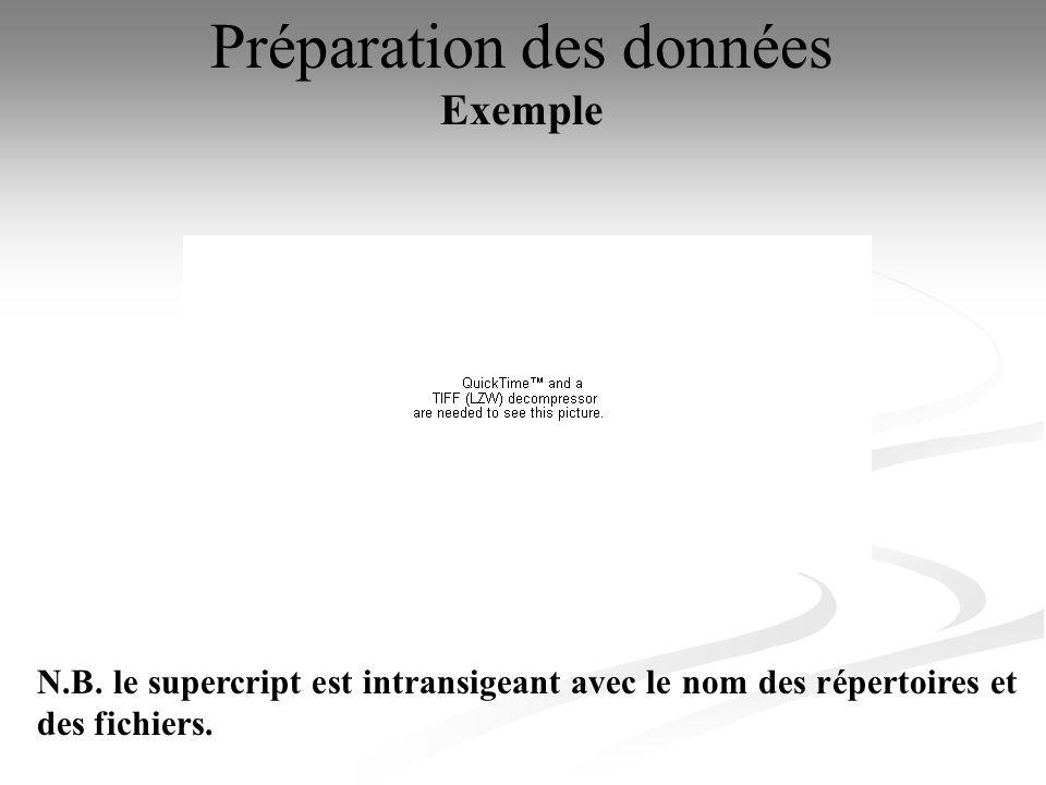 Préparation des données Exemple N.B. le supercript est intransigeant avec le nom des répertoires et des fichiers.