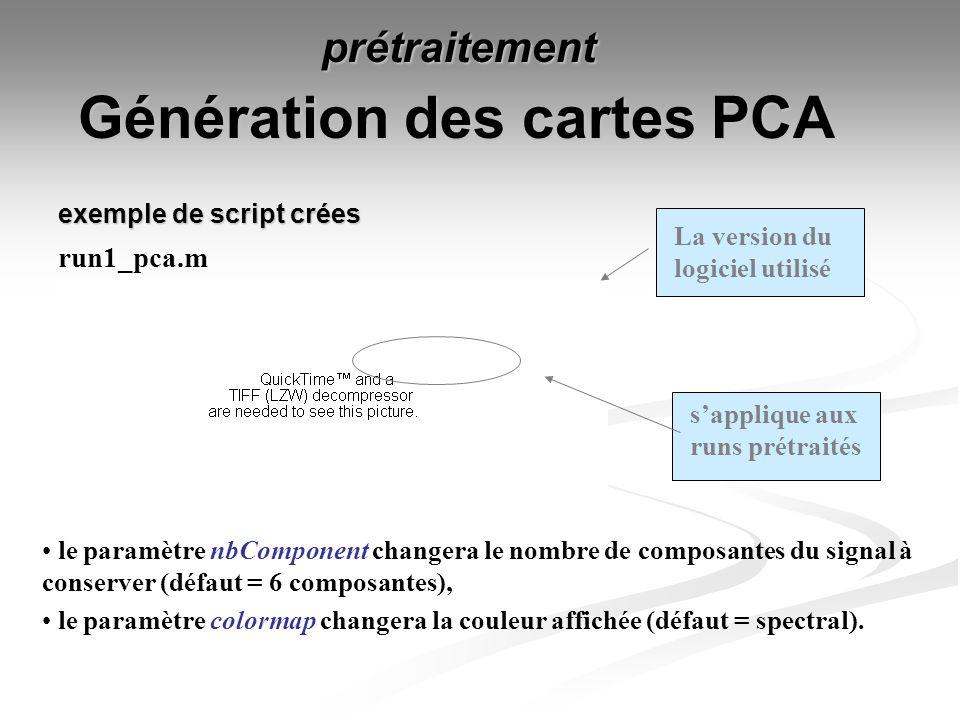 Génération des cartes PCA run1_pca.m sapplique aux runs prétraités prétraitement exemple de script crées le paramètre nbComponent changera le nombre d