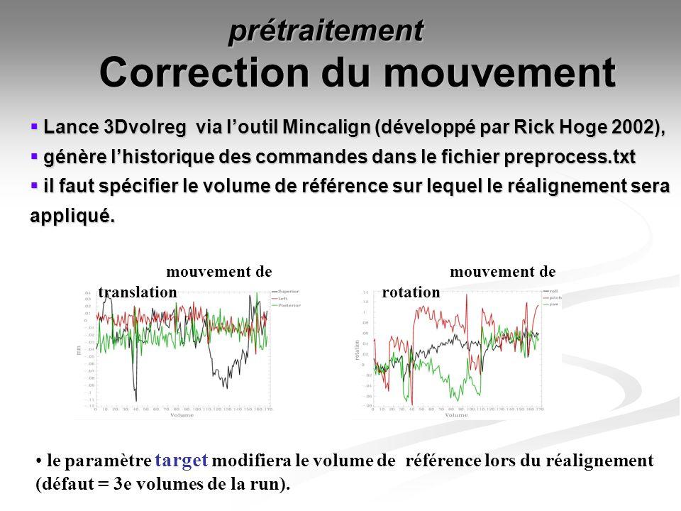 Correction du mouvement mouvement de translation mouvement de rotation Lance 3Dvolreg via loutil Mincalign (développé par Rick Hoge 2002), Lance 3Dvol