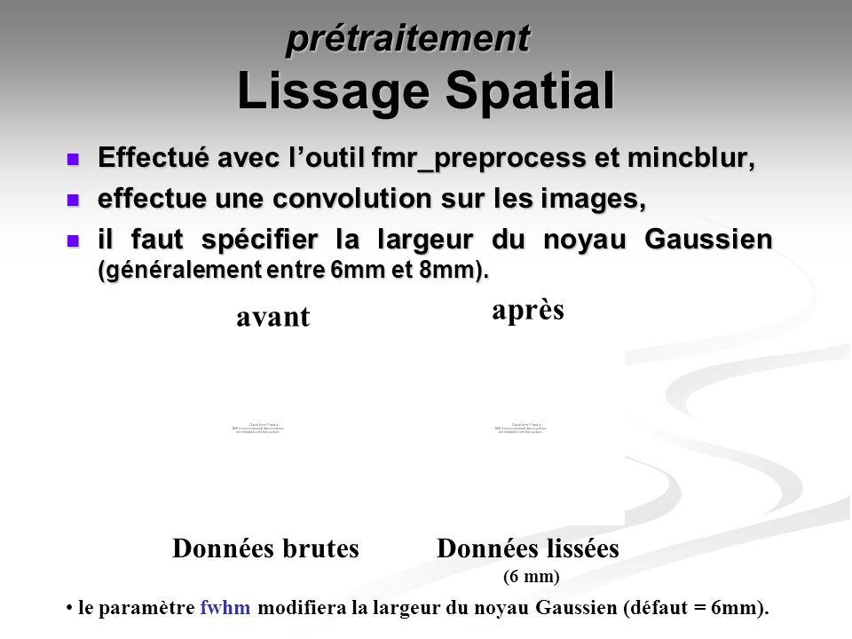 Lissage Spatial Effectué avec loutil fmr_preprocess et mincblur, Effectué avec loutil fmr_preprocess et mincblur, effectue une convolution sur les ima