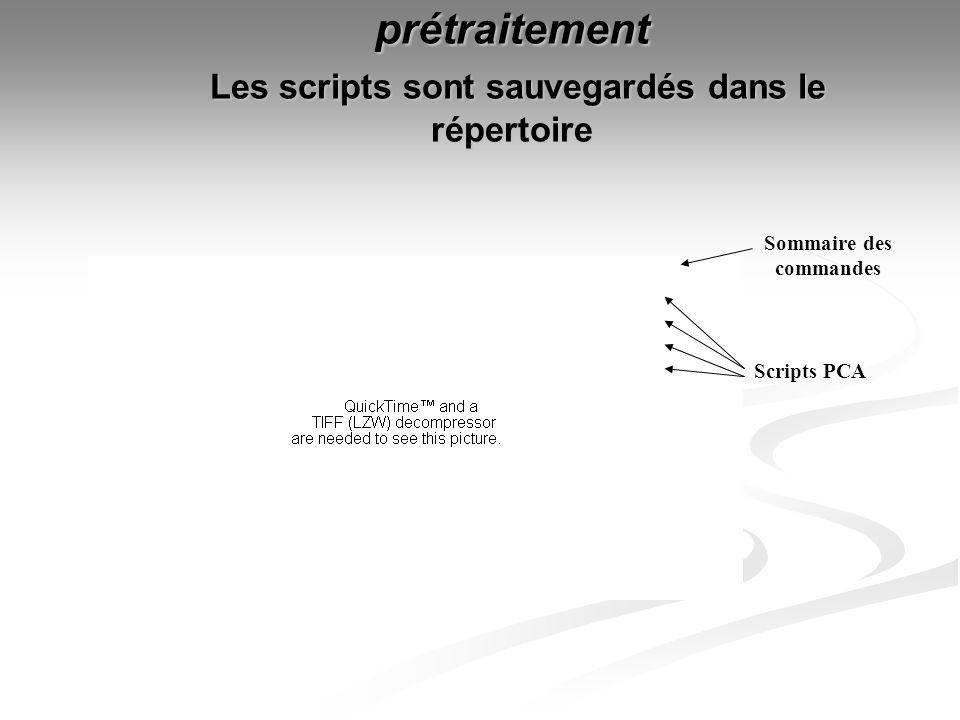 prétraitement Les scripts sont sauvegardés dans le répertoire Sommaire des commandes Scripts PCA