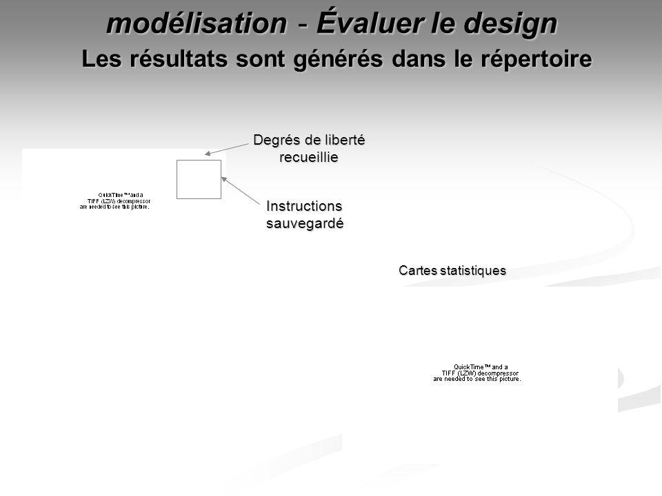 modélisation - Évaluer le design Les résultats sont générés dans le répertoire Cartes statistiques Degrés de liberté recueillie Instructions sauvegard
