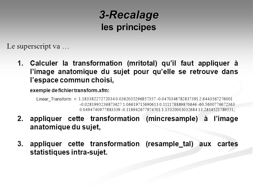 3-Recalage les principes 1. Calculer la transformation (mritotal) quil faut appliquer à limage anatomique du sujet pour quelle se retrouve dans lespac