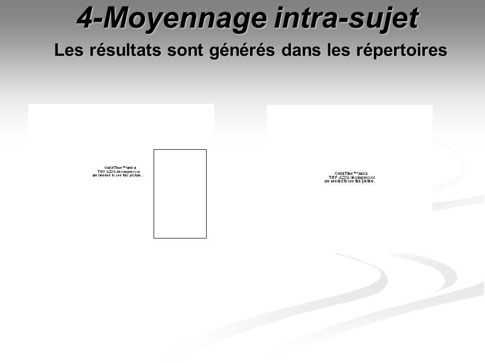 4-Moyennage intra-sujet Les résultats sont générés dans les répertoires