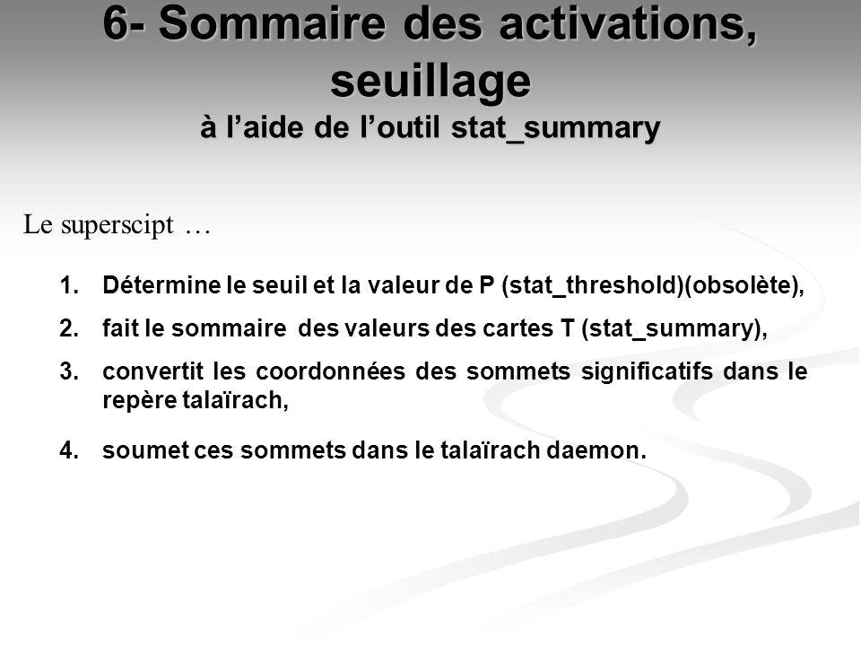 6- Sommaire des activations, seuillage à laide de loutil stat_summary 1. Détermine le seuil et la valeur de P (stat_threshold)(obsolète), 2. fait le s