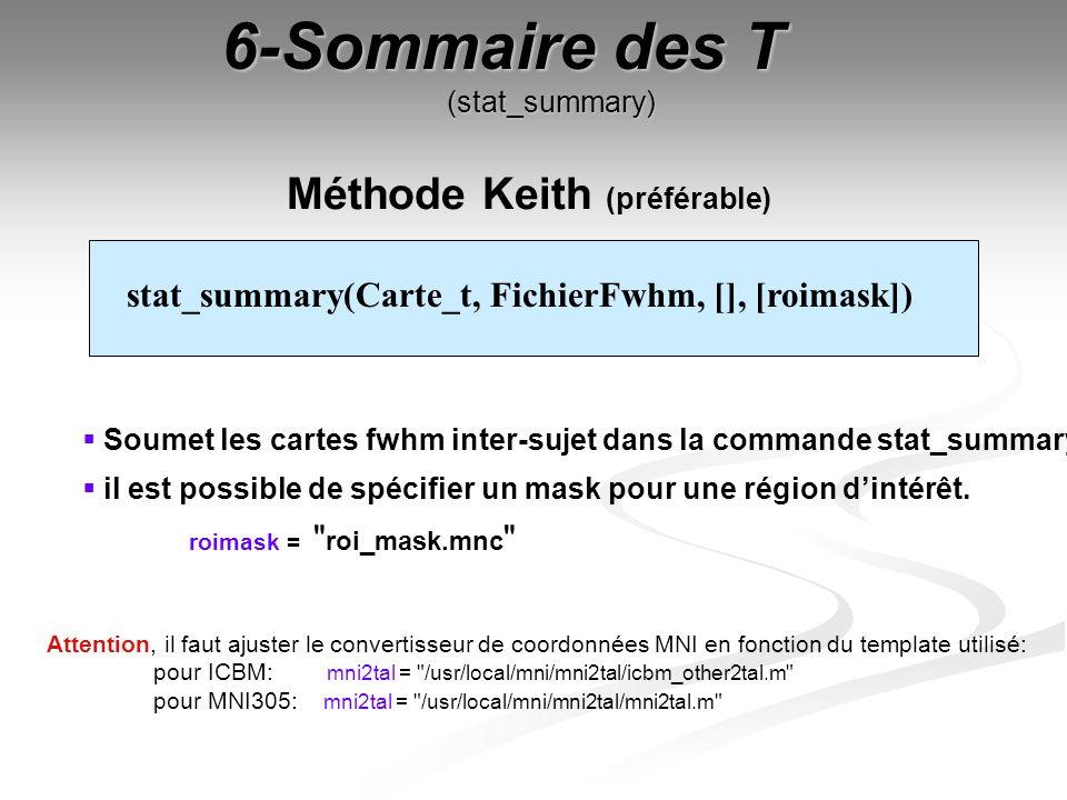 6-Sommaire des T (stat_summary) Méthode Keith (préférable) Attention, il faut ajuster le convertisseur de coordonnées MNI en fonction du template util