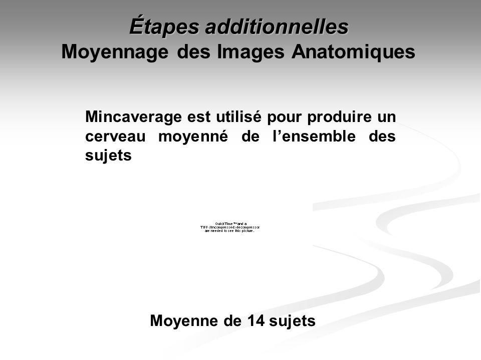 Étapes additionnelles Étapes additionnelles Moyennage des Images Anatomiques Moyenne de 14 sujets Mincaverage est utilisé pour produire un cerveau moy