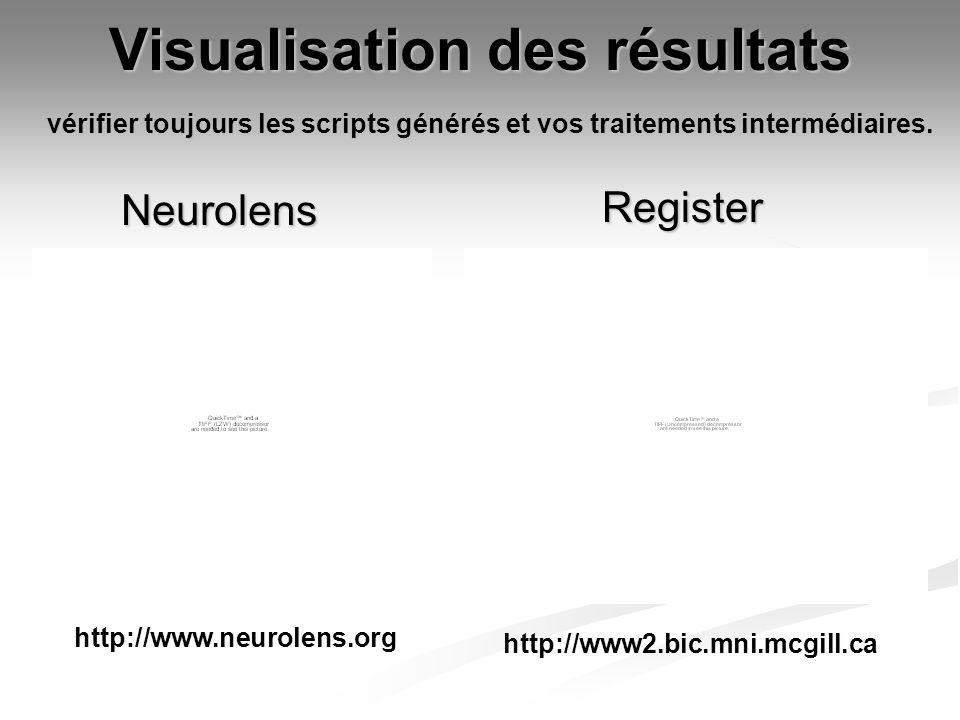 Visualisation des résultats Register Neurolens http://www.neurolens.org http://www2.bic.mni.mcgill.ca vérifier toujours les scripts générés et vos tra