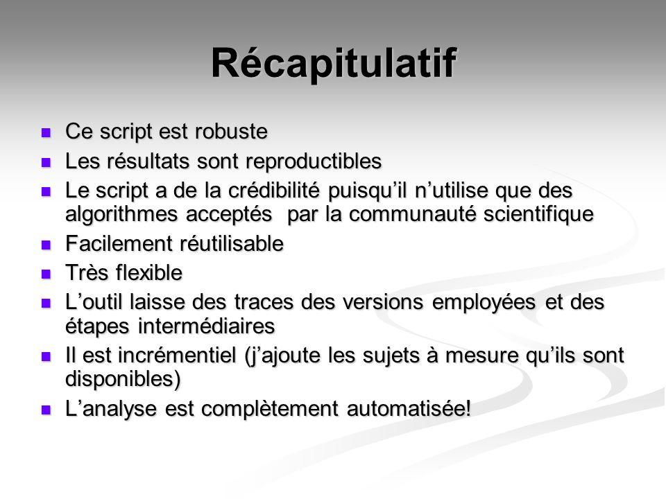 Récapitulatif Ce script est robuste Ce script est robuste Les résultats sont reproductibles Les résultats sont reproductibles Le script a de la crédib
