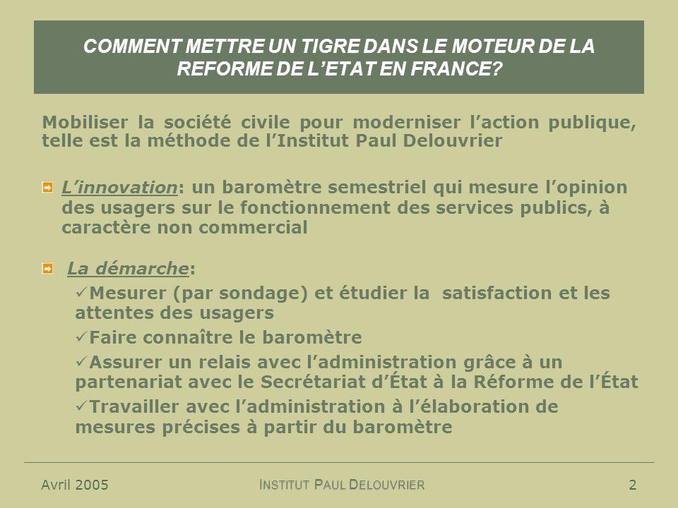 Avril 20052 COMMENT METTRE UN TIGRE DANS LE MOTEUR DE LA REFORME DE LETAT EN FRANCE? Mobiliser la société civile pour moderniser laction publique, tel
