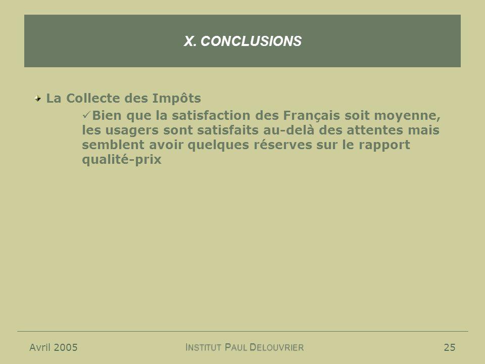 Avril 200525 X. CONCLUSIONS I NSTITUT P AUL D ELOUVRIER La Collecte des Impôts Bien que la satisfaction des Français soit moyenne, les usagers sont sa