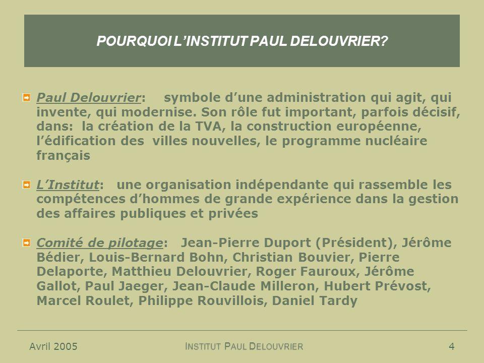 Avril 20054 POURQUOI LINSTITUT PAUL DELOUVRIER.