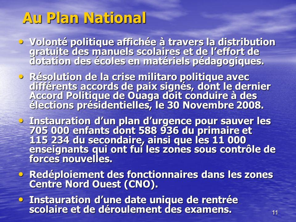 11 Au Plan National Au Plan National Volonté politique affichée à travers la distribution gratuite des manuels scolaires et de leffort de dotation des écoles en matériels pédagogiques.