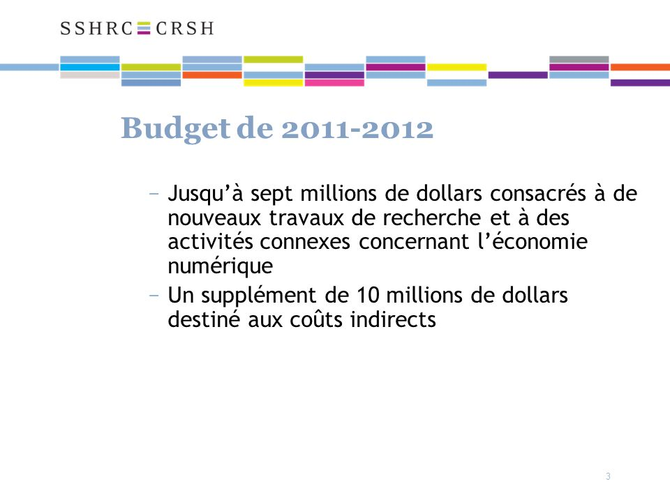 3 Budget de 2011-2012 Jusquà sept millions de dollars consacrés à de nouveaux travaux de recherche et à des activités connexes concernant léconomie numérique Un supplément de 10 millions de dollars destiné aux coûts indirects